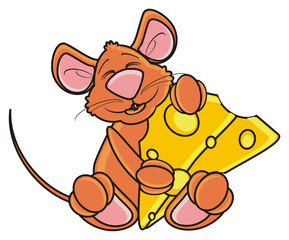 hug, hold, sleep, piece, mouse, rat, rodent, pest, animal, isolated, toy, piece, cartoon, brown, pet, cheese