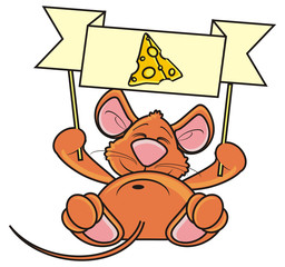 mouse, rat, rodent, pest, animal, isolated, toy, piece, cartoon, brown, pet, cheese, hold, lying,  plaque, banner, clean, transporant, demand, ask, empty