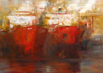 Tanker ships, modern handmade paintings