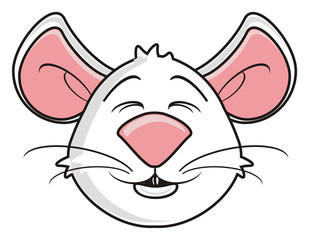white, head, face, muzzle, mouse, rat, rodent, pest, animal, isolated, toy, piece, cartoon, pet, happy, kind, funny