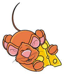 hug, hold, sleep, piece, mouse, rat, rodent, pest, animal, isolated, toy, piece, cartoon, brown, pet, cheese, lying, happy, kind, funny
