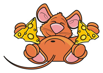 hug, hold, sleep, piece, mouse, rat, rodent, pest, animal, isolated, toy, piece, cartoon, brown, pet, cheese, lying, happy, kind, funny, two pieces
