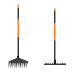 broom and rake. broom and rake in flat style. broom and rake icon. Garden tools. Garden equipment.
