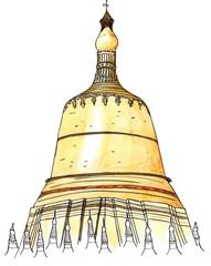 Watercolor Hand drawn architecture sketch of Shwedagon Pagoda, Yangon, Myanmar isolated