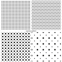set of seamless patterns - circles peas of various sizes.