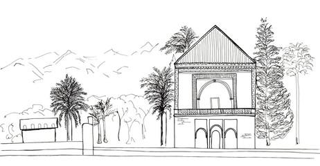 Hand drawn sketch of Morocco, Marrakech, Menara Gardens isolated
