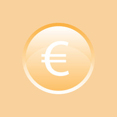 Flat vector icon. Colored icons in the form of buttons. Euro.