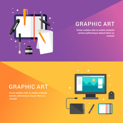Graphic Art Concept. Set of Flat Style Vector Illustrations for Web Banners or Promotional Materials. Sketchbook with Pencils. Workplace Graphic Designer