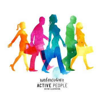 Watercolour Busy Walking People