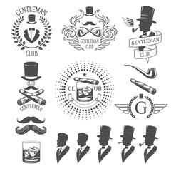 Gentleman emblems set