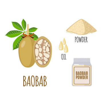 Superfood baobab set in flat style.