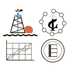 Oil industry gasoline processing symbols icons