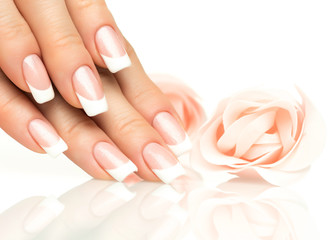 Aluminium Prints Manicure Woman hands with french manicure close-up