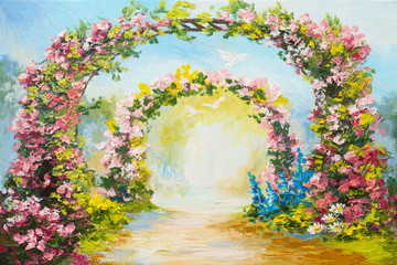 oil painting - floral arch in the summer park, colorful art picture, abstract drawing, flying doves