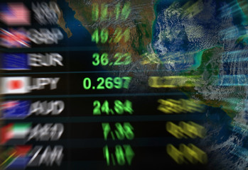 blurry currency exchange background