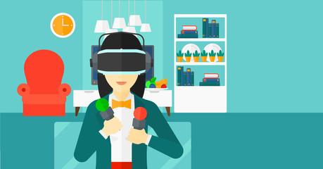 Woman wearing virtual reality headset.