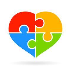 4 part puzzle heart diagram
