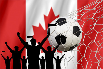 silhouettes of Soccer fans with flag of Canada .Cheer Concept