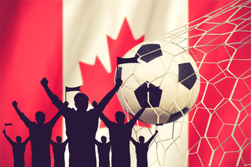 silhouettes of Soccer fans with flag of Canada .Cheer Concept vi