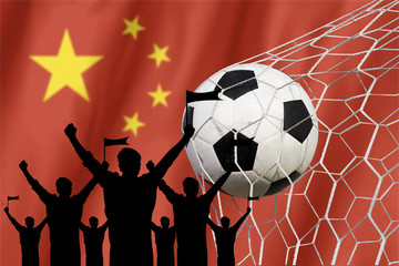 silhouettes of Soccer fans with flag of China .Cheer Concept