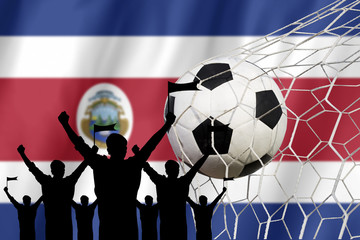 silhouettes of Soccer fans with flag of Costa Rica .Cheer Concep