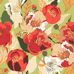 Seamless floral  background. Isolated red flowers and leafs.