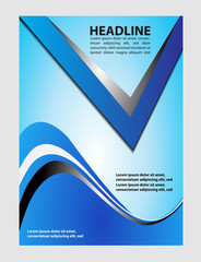 Vector design of the flyer white black and blue background