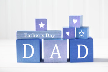 Fathers Day message on blue wooden blocks