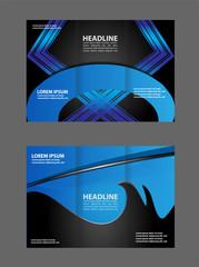 Tri-fold brochure template design, business leaflet, booklet wave
