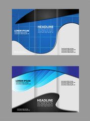 Black and blue template for advertising brochure