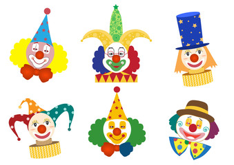 Clown face set,Vector illustrations