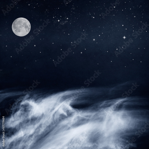 Papier Peint Black and White Clouds and Moon with stars at night. Image has a pleasing paper grain and texture when viewed at 100 percent.