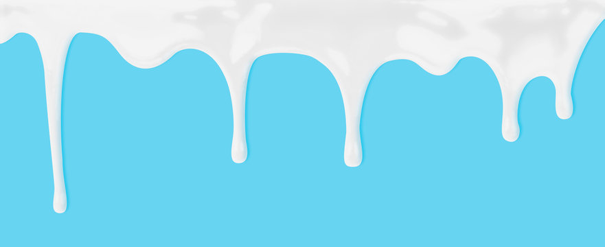 milk or white liquid dripping on blue background