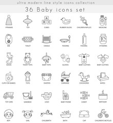 Vector Baby ultra modern outline line icons for web and apps.