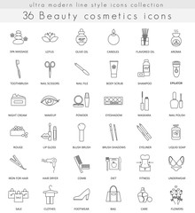 Vector Beauty Cosmetics ultra modern outline line icons for web and apps.