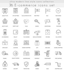 Vector e-commerce ultra modern outline line icons for web and apps.