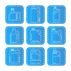 Blank plastic canisters, flat linear icons. Plastic packaging