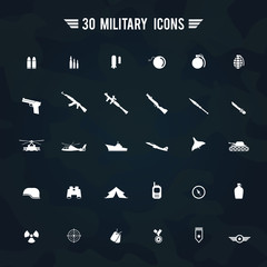 Flat white silhouette military army and soldier weapon transportation sign and symbol such as gun grenade tank jet and badges icon collection set with camouflage background, create by vector