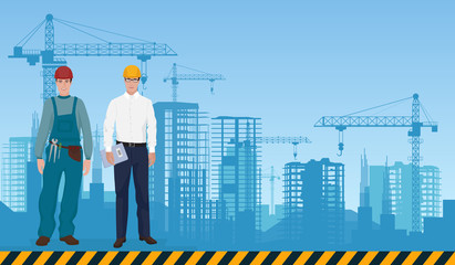 Builder man manager architect and worker on the constructions buildings background. Construction professions concept.