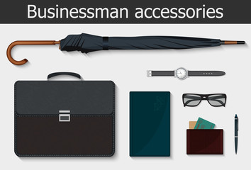 Businessman stuff and accessories icons set. Vector illustration.