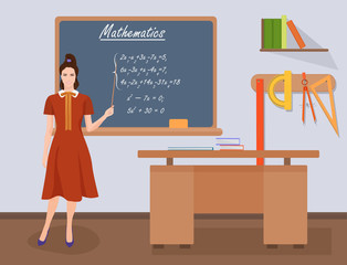 School Mathematics female teacher in audience class concept. Vector illustration.