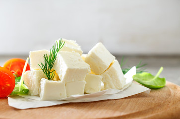 Slices feta cheese
