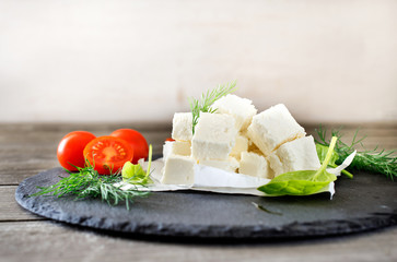Sliced feta cheese
