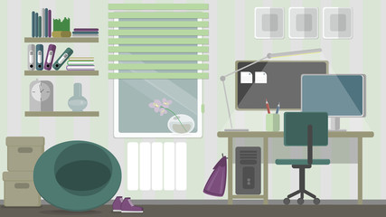 Teenage home workspace.