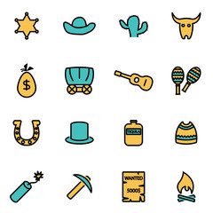 Trendy flat line icon pack for designers and developers. Vector line wild west icon set, wild west icon object, wild west icon picture, wild west image - stock vector