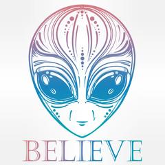 Alien face icon vector illustration.