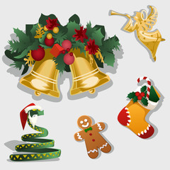 Christmas symbol, gingerbread, ornaments and gifts