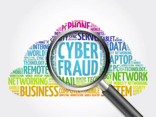 Cyber Fraud word cloud with magnifying glass, business concept