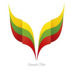 Abstract Lithuanian eagle flag ribbon logo white background