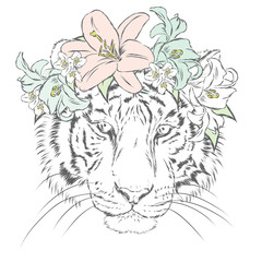 Tiger in a wreath of flowers. Vector illustration. Print on clothes, postcard or poster.